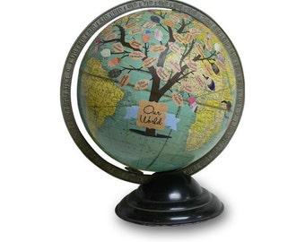 Vintage Globe Art, Your World, Personalized Family Tree, Genealogy, Customized Antique Globe Art
