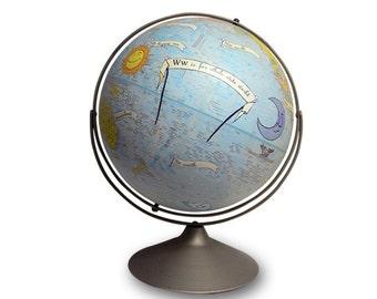 Vintage Globe Art, Alphabet, ABC, Nursery Art, Baby World Globe