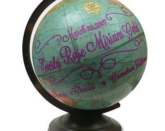 Custom Baby Name, Vintage Globe Art
