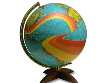 Vintage Globe Art, Not All Who Wander Are Lost, Mod World Globe Art