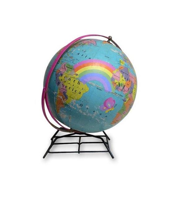 Spread Love, Vintage Globe Art