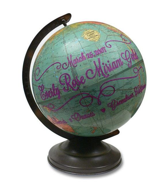 Custom Baby Name, Vintage Globe Art
