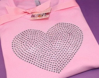 LARGE HEART rhinestud tee by Daisy Creek Designs