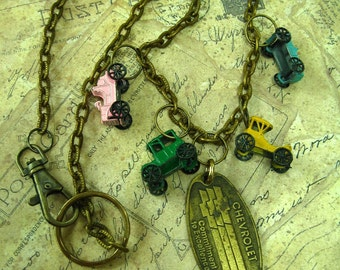 Toy Cars, Vintage Metal Cars and Chevrolet Key Tag Necklace Assemblage
