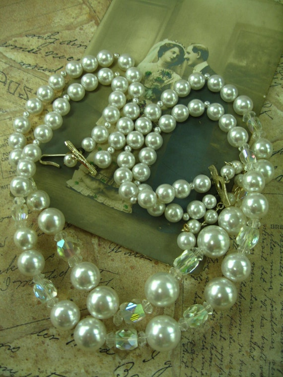 The Wedding Pearls, Vintage White Faux Pearls with AB Crystals