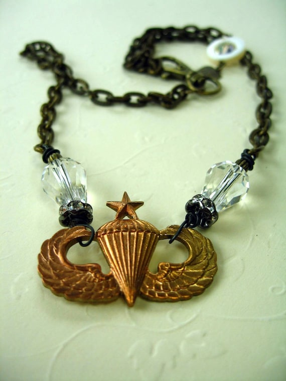 Paratrooper, Vintage Military Assemblage Necklace, Balloon, Crystals, Star, Wings