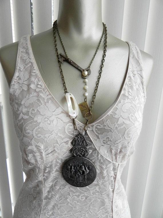 The Villiage, Vintage Silver Handmirror Assemblage Necklace, Vampire