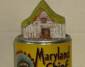 Tin Can Art: Home, Home on the Beans, California Folk Art, carved wood