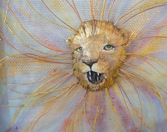 Lion Wood Colorful Carving - Mixed Medium Piece - Aslan Abstract