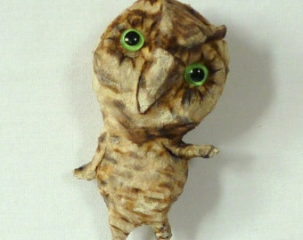 Original Cotton Batting Piece -Somewhat Great Horned Owl  -  Free USA Shipping