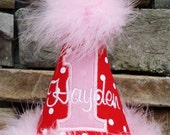 Girl's First Birthday Party Hat - Red, pink, and white polka dots - Free personalization - Party hat