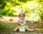 Boys Birthday HAT and BIB - Dots in red, aqua, orange, and green - Free personalization