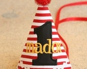 Boys 1st Birthday Party Hat - Pirate theme in red and white stripes with black and yellow - Free personalization