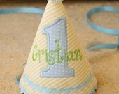 Boys First Birthday Party Hat - Soft yellow and white stripes with light blue and white dots and green monogram - Free personalization