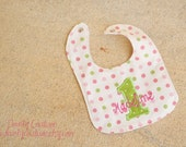 Girls first birthday bib - Pink and green in polka dots - Free personalization