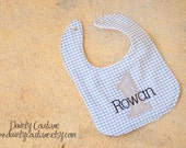 Boys First Birthday Bib  - Personalized in blue and white gingham with navy and grey accents