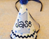 Boys First Birthday Party Hat - Darling soft yellow hat with blue and green dots and stripes - Free personalization