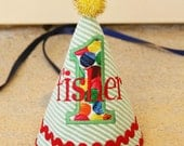 Very Hungry Caterpillar Birthday Hat - Red, green, blue, yellow - VHC - Eric Carle - Free personalization