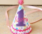 Girls First Birthday Party Hat - Darling pink aqua, green, yellow, and purple glitter dots with ric rac - Free personalization