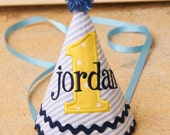 First Birthday Party - Little Blue Truck birthday - Boy party hat - Blue seersucker with yellow and navy accents - Free personalization