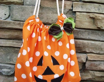 Handmade Trick or Treat bag - Halloween bag - Halloween keepsake - Fully lined - Halloween keepsake -ORDER by 10/19 for Halloween arrivak