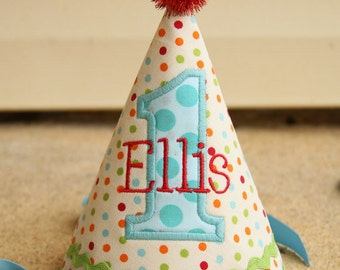 Boys First Birthday Party Hat - Preppy dots in red, aqua, orange, and green - Free personalization