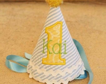 Boys 1st Birthday Party Hat - Yellow Rubber Ducky theme on blue and white stripes with yellow and green - Free personalization