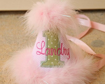 Girls First Birthday Party Hat - Light pink and white stripes with soft green and white dots - Free personalization