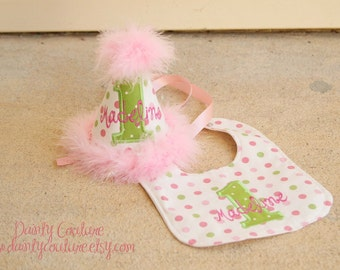Girls First Birthday Party Hat and Bib - Pink and Green polka dots - Free personalization