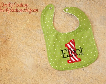 Boys First Birthday Christmas Bib  - Personalized bib in Christmas green and red and white stripes - Winter Wonderland