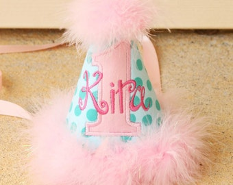 Girls First Birthday Party Hat - Michael Miller Aqua Ta Dot and pinks - Free personalization