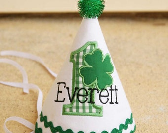 Boys First Birthday Saint Patrick's Party Hat - White hat with green gingham and green shamrock - Free personalization