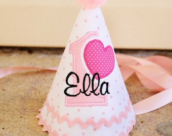 Girls First Birthday Valentines Hat - Soft pink and white dots with Valentine heart - Free personalization