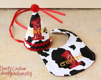 Boys first birthday hat -Cowboy theme in black, white, and red bandana - Free personalization - Keepsake