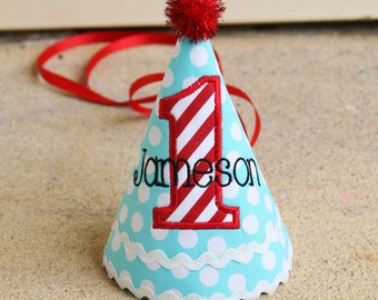 Boys First Birthday Hat - Aqua and white dots and red and white stripes - Winter Wonderland or Christmas - Free personalization