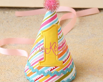 First Birthday Party Hat Personalized - Sunny stripes in yellow, aqua, pink, and green - Free personalization