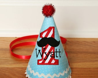 Boys First Birthday Mustache Hat - Cute hat in blue/light aqua, red and white stripes - Free personalization