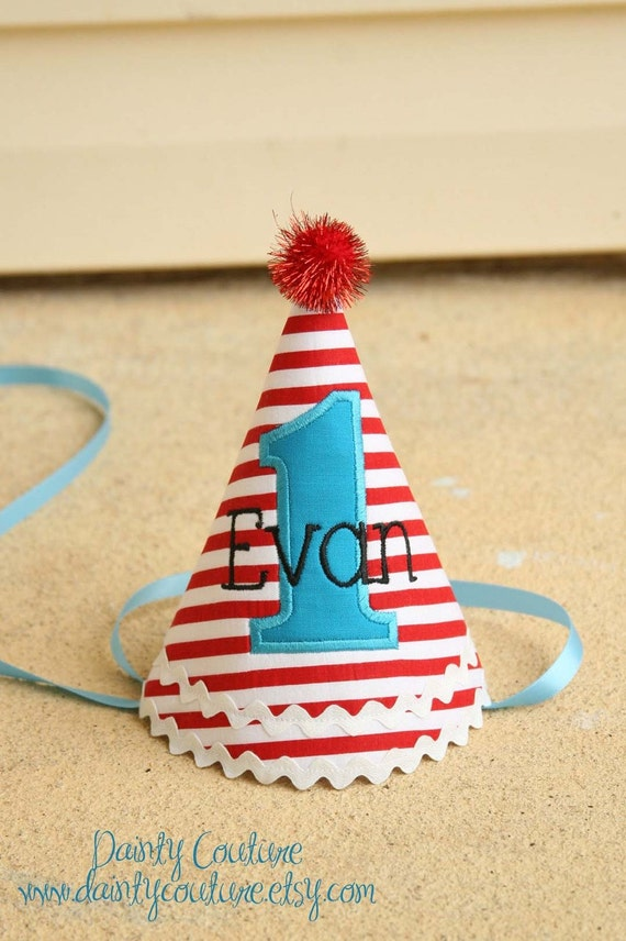 Boys first birthday hat - Dr. Seuss theme - Red and white stripes - Free personalization - Keepsake