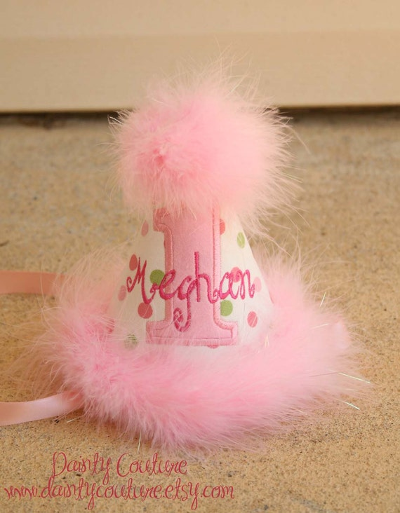 First Birthday Party Hat - Pink and Green polka dots - Free personalization