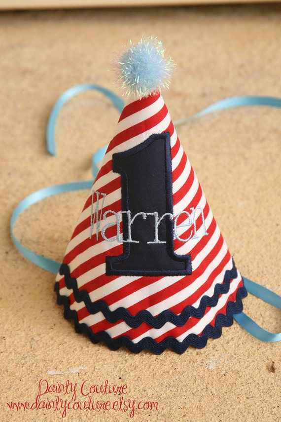 Boys 1st Birthday Party Hat - Stunning 4th of July stripes in red, white, and blue - Free personalization