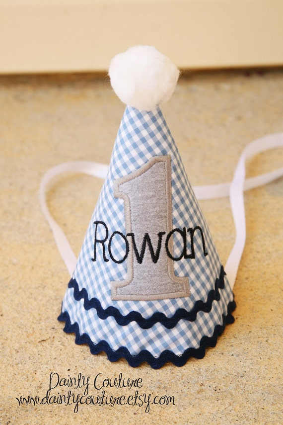 Boys First Birthday Party Hat - Blue gingham with navy, grey, and white accents - Free personalization