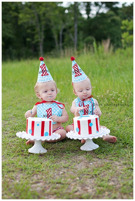 Boys 1st Birthday Party Hat and Bib for TWINS - Darling aqua blue dots and red and white stripes - Michael Miller ocean dots
