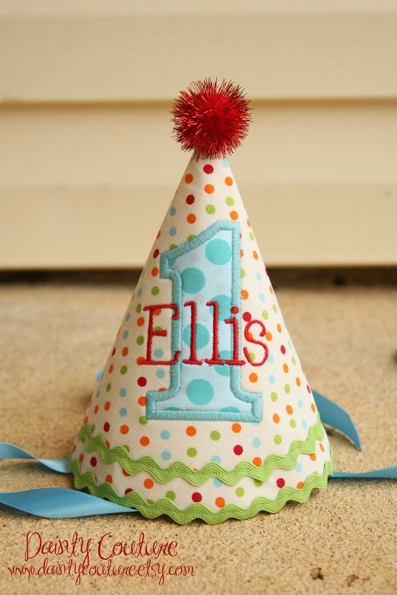 Boys First Birthday Party Hat Preppy dots in red aqua
