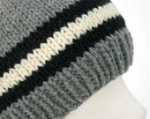 Gray with Blue and White Stripes Knit Hat - Small\/Medium