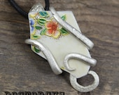 Broken China Fork Pendant -- Handcrafted From an Antique Sterling Silver Plated Fork -- A Doctor Gus Creation