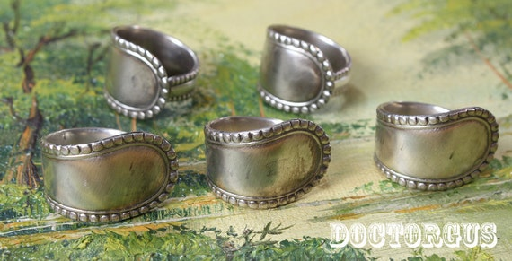 5 Piece Sterling Silver Plated Spoon Ring Set - Recycled From Antique Silverware - Makes a great eco earth friendly gift