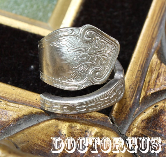 Sterling Silver Plated Spiral Spoon Ring - Recycled Silverware Jewelry Creations by Doctorgus