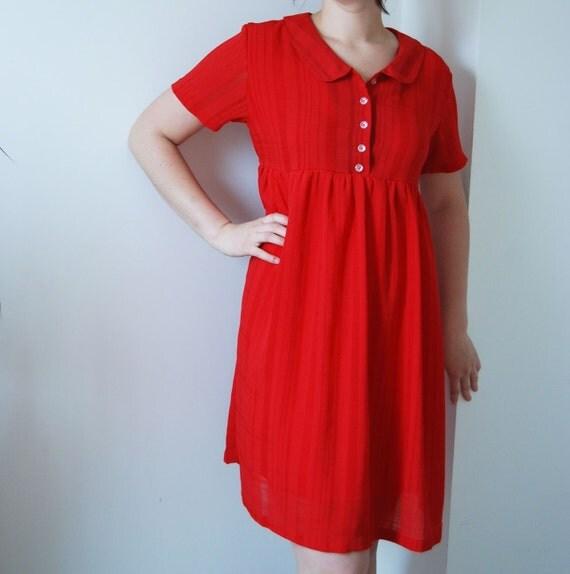 SALE . . . Vintage 1950s Red BabyDoll Dress