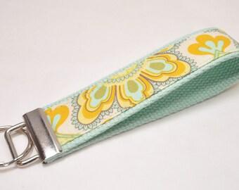 Key Fob Keychain Meadowsweet Sunny Flowers Fabric on Pistachio Cotton Webbing