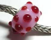 Pink n Red Dotted Big Hole Artisan Lampwork Bead